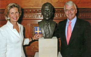 Anne Curry with Sir John Major at the unveiling of the bust in the House of Commons